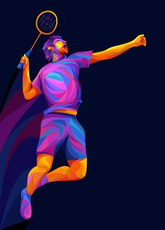 Illustration of the badminton player doing jump and smash action with colourful and smooth color tones. Badminton Smash, Badminton Tournament, Badminton Club, Badminton Logo, Olympic Badminton, Badminton Racket, Badminton Pictures, Olympic Gymnastics, Olympic Games