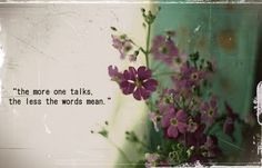 """The more one talks, the less the words mean."" ~ Unkown -- A good reminder not to ramble, me thinks? ;)"