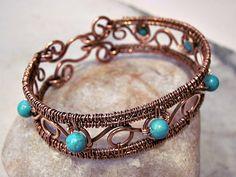 Turquoise Colored Bead Wire Bracelet - Zoraida Bros