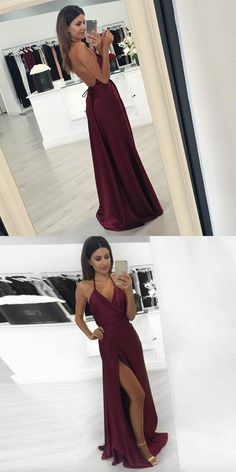 Modern Sheath Halter Backless Split Front Burgundy Long Prom Dress 011f012baec1