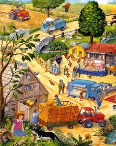 Typically there are stories that accompany each illustration. Writing Pictures, Picture Writing Prompts, Picture Comprehension, Puzzle Art, Hidden Pictures, Picture Story, Farm Theme, Language Development, Picture Description