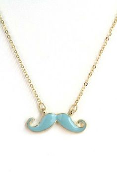 Necklace  https://sincerelysweetboutique.com/accessories/jewelry/necklaces.html #necklace #jewelry #accessory - Necklace - Hipster Movement Enamel Mustache Necklace in Teal