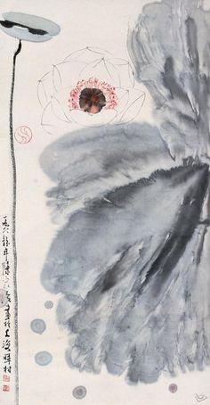 Asian watercolor ink art Lotus, Chinese Painting