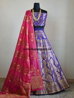 Banarasee/Banarasi Handwoven Semi Silk Unstitched Lehenga & Blouse Fabric With Dupatta-Violet