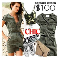 """Army Dress Under $100"" by clotheshawg ❤ liked on Polyvore featuring H.I.P., Ekphero and Converse"