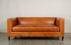 Our Arden, Untufted, in Echo Cognac leather. #leathersofa #modernleathersofa #cognacleather #cognacleathersofa #modernsofa