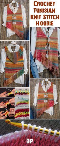 Crochet Tunisian Stitch Hoodie