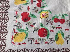 Vintage Tablecloth W Chapel Church And Fruit by 23burtonavenue
