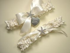 Ivory Beach Wedding Garter Set Personalized by MakeThisDaySpecial