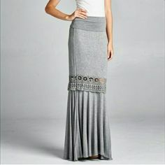 Lace Trim Maxi Skirt Beautiful and flowy Maxi skirt. Rollover waistline. Embroidery detail panels adorn the skirt. Super soft rayon spandex blend. Brand new. Size small. Heather gray color. Skirts Maxi