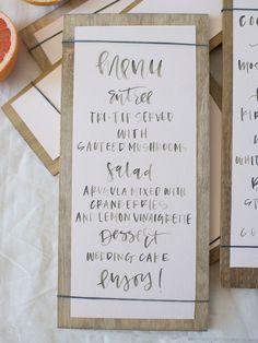 A Fabulous Fete: rubberband calligraphy menus
