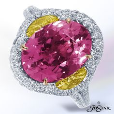 Wow! Oval Paparadscha center stone with fancy yellow half moons in micro pave setting.  By JB Star.  Available at Alson Jewelers.