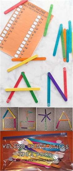 Diy velcro craft sticks with free craft stick idea book - fun, easy to make and play with idea perfect for summer busy bags, road trips, building with craft Kindergarten Learning, Fun Learning, Preschool Activities, Preschool Programs, Kindergarten Centers, Preschool Literacy, Toddler Learning, Travel Activities, Indoor Activities