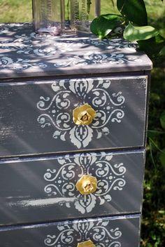 DIY dresser.  Love this design with the stencil under the hardware!