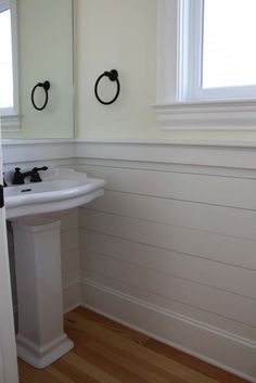 Home Decoration. Cool White Bathroom Vinyl Wainscoting Panels Design Installation With White Vessel Sink Ideas. Stylish Vinyl Wainscoting Panels Ideas For Home Wall Decoration Wainscoting Stairs, Wainscoting Bathroom, Wainscoting Ideas, Wainscoting Height, Black Wainscoting, Painted Wainscoting, Bathroom Vinyl, Bathroom Chair, Bathroom Wall Panels