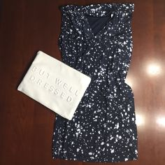 NWT Michael by Michael Kors dress Fun and comfortable dress by Michael by Michael Kors. Stretchy, polyester material in dark navy with acid wash style splatters. Top of dress blousons over tighter fitting skirt part of dress. Never worn. MICHAEL Michael Kors Dresses Mini