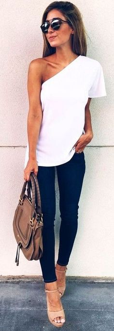 #summer #musthave #trends | One Shoulder White Top + Black Denim