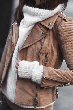 Braun Reißverschluss V-Ausschnitt Langarm Warme Wildleder Mantel Bikerjacke Led. Mode Outfits, Winter Outfits, Fashion Outfits, Womens Fashion, Winter Clothes, Latest Fashion, Fashion Beauty, Jackets Fashion, Fashion Top