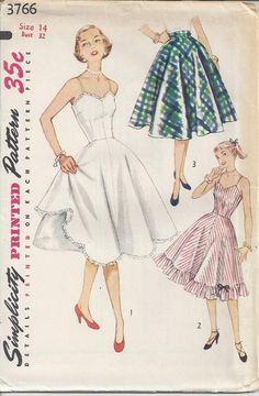 MOMSPatterns Vintage Sewing Patterns - Simplicity 3766 Vintage 50's Sewing Pattern GORGEOUS Rockabilly Pinup Girl Swing Dance Full Dress Slip, Crinoline, Petticoat, Half Slip Size 14