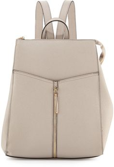 Neiman Marcus Faux-Leather Zip-Top Backpack, Light Gray
