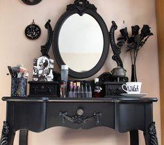 Master bedroom goth bedroom, gothic bedroom, gothic home decor. Gothic Room, Gothic House, Victorian Gothic, Modern Gothic, Gothic Furniture, Black Furniture, Steampunk Furniture, Furniture Decor, Bedroom Furniture