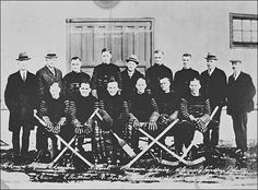 "The source is a photograph from 1924 from the Hamilton Tigers which is a Ice-Hockey team.The National Hockey League was established in 1917. There were five teams: two in Montreal, one in Toronto, one in Ottawa and one in Quebec City. In 1924 the ""Boston Bruins"" were the first ,,American,, team to join the NHL. They were joined by the ""New York Americans"" in 1925. In this time Hockey was one of the famoust sports and with the years it got more and more famous."