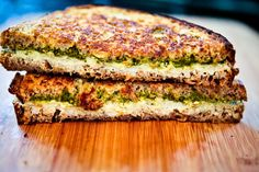 Grilled Pesto & Tofu Chevre Sandwich #vegan
