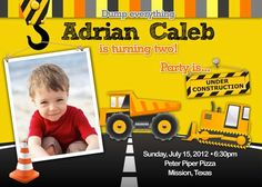 Birthday Party Invitation  Construction for boy by BellePrintables, $12.50