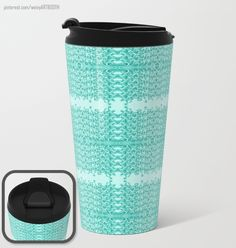 """Gap Teal Lacy Wave Metal Travel Mug 15"""" designed by We~Ivy. A 360-degree wraparound design, these metal travel mugs are crafted with lightweight stainless steel - so they're pretty much indestructible. Plus, they're double-walled to keep drinks hot (or cold), fit in almost any size cup holder and are easy to clean. Waves Line, To Spoil, My Themes, Website Themes, Travel Mugs, Ocean Waves, Wraparound, Beach Towel, Ivy"""
