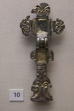 Anglo-Saxon 'florid' cruciform brooch, gilded and silvered copp-alloy, from grave 143 at Sleaford, Lincolnshire.  From the British Museum's collection (1883,0401.270), 6th century AD.