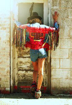 WOMEN'S Vintage FRINGE glam upcycled bohemian denim jeans jacket rockstar Tribal ethnic festival gypsy decorated embellished boho jacket