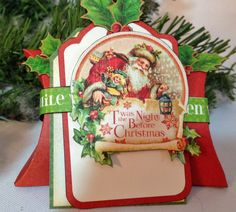 Graphic 45 Twas The Night Before Christmas pillow gift box. By Anne Rostad