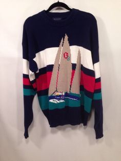 GANT Pullover Sail Boat Crew Neck Knit Cotton Sweater Mens Size 1X #Gant #Crewneck