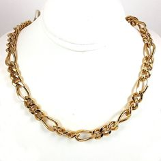 Heavy Figaro Chain Necklace 24k Yellow Gold Plated Classic 18 Inch n59g #RomeoJuliet #Chain