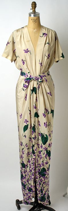 Dinner Dress, Mark Mooring (American) for Bergdorf Goodman (American, founded 1899): 1942, American, silk.
