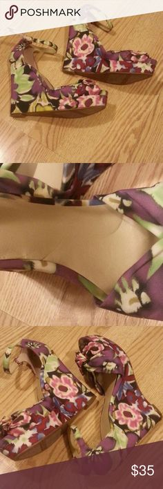 Beautiful flowery wedges, ready for summer Nine West ,pre owned, great condition ,5inches wedges on 1inch platform,   pic #4 minor  dent on insole Nine West Shoes Wedges