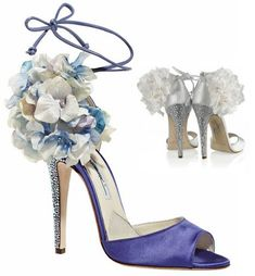"""On this beautiful, sunny day,  Brian Atwood's Aurora pump makes me want to say """"I Do"""" all over again. The rhinestone heels are sure to make a gal's feet sparkle on her special day.  Okay, sure, the floral arrangment may be over the top, but shouldn't all weddings be?"""