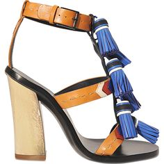 Tory Burch Tassle sandal ($515) ❤ liked on Polyvore featuring shoes, sandals, multicoloured, tory burch shoes, ankle tie sandals, multi color high heel sandals, leather sandals and tory burch
