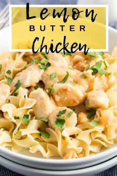 "Lemon Butter Chicken is a quick easy dinner, packed full of flavor. Great for a weeknight meal when you are staring at the fridge and pantry ""what to make. what to make?"" Got a lemon? Some pasta? Best Chicken Recipes, Turkey Recipes, Chicken And Egg Noodles, Chicken Pasta Easy, Chicken Wings, Lemon Butter Chicken, Fancy Dinner Recipes, Quick Easy Dinner, Weeknight Meals"