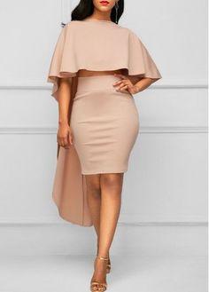 Cape Shoulder Top and High Waist Skinny Skirt Elegant Dresses, Sexy Dresses, Dress Outfits, Casual Dresses, Fashion Outfits, Womens Fashion, Pink Dresses, African Attire, African Fashion Dresses