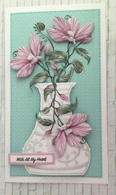 Lace Vase, Tattered Lace Cards, Decoupage Art, Presents For Mom, Lace Design, Carnations, Floral Arrangements, Bouquet, Vases