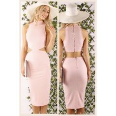 High necked midi length dress with cut outs. I just opened a boutique and I have only a few in stock. This blush pink is in this fall! It's en route from my wholesaler so I can hold a few for interested buyers. Australian sizes . Ask questions in comment section :) price is firm. Australian wholesaler brand  Dresses