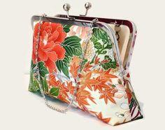 Floral Silk Clutch Purse In Cream Orange And by SimplySilkScarves