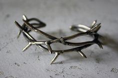 Crown of Thorns Bracelet Cuff - White Bronze.