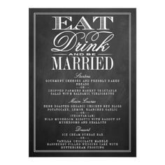 Chalkboard Wedding Rehearsal Dinner Cards Eat, Drink & Be Married Chalkboard Wedding Menus Card