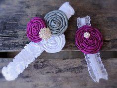 Bridal Garter-Raspberry/Grey/White