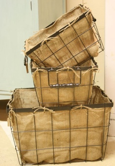 Love the wire and burlap- have a few similar to these in his room for storage and laundry. wire baskets with diy burlap liners