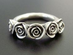 The Kirstin Ring - SALE - SMALL SIZE- Five Roses, Handsculpted, Cast Sterling Silver Ring - Ready to Ship (Sizes 6 to 6.5)