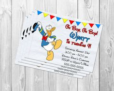 DONALD DUCK BIRTHDAY Party Party Invitation by BBNGRAFX on Etsy