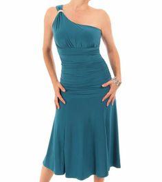 Teal Crystal Diamante One Shoulder Cocktail Dress #womensfashion #partywear #eveningwear Justblue.com